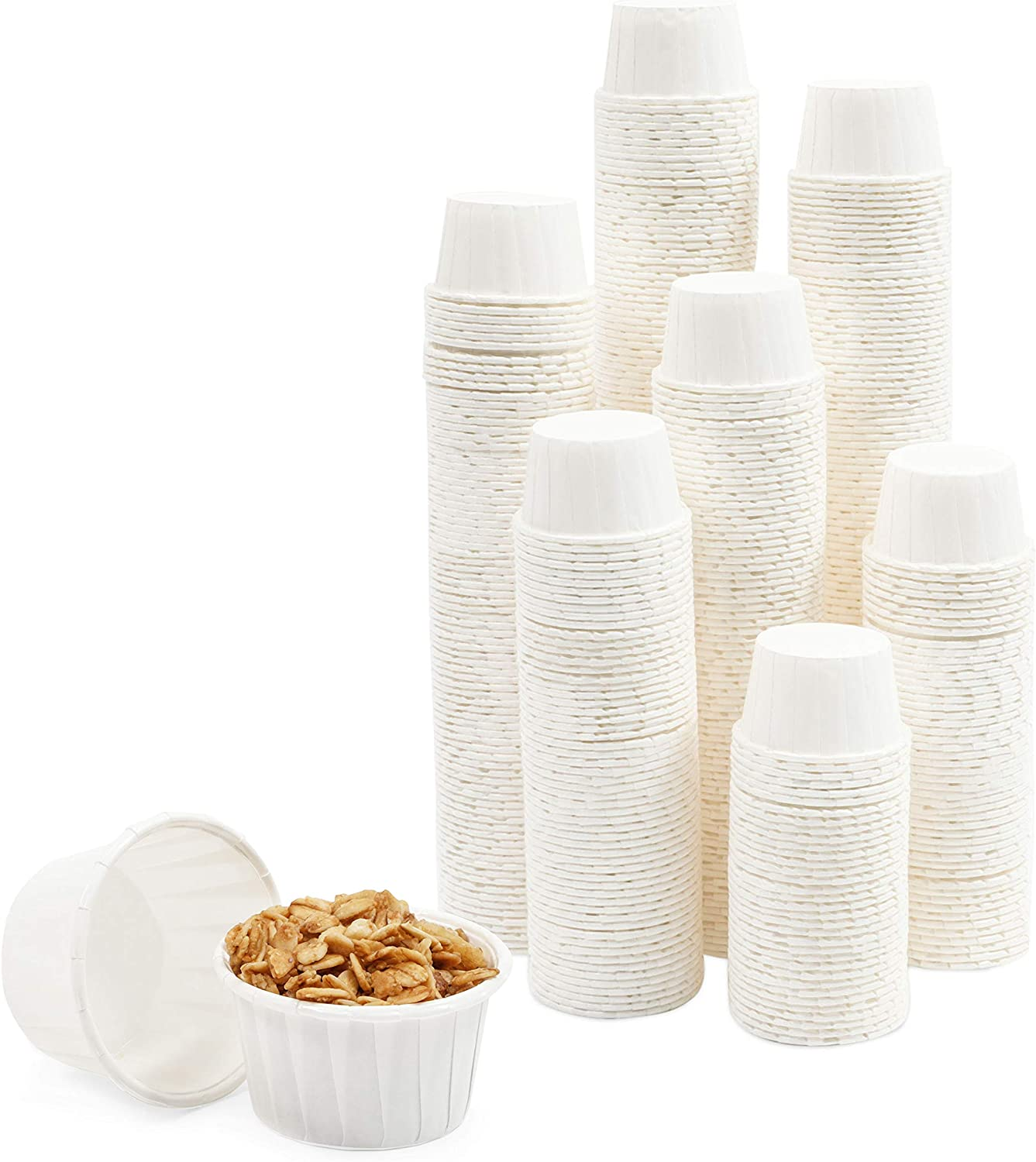 White Paper Souffle Cups, 2 oz Portions for Condiments, Samples (500 Pack)