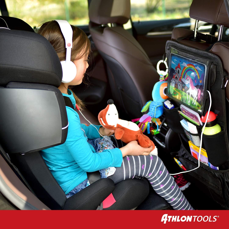 Farbe: neutral schwarz ATHLON TOOLS Autositz-Organizer mit integrierter Tablet-Halterung Universelle Passform Stabile Ecken /& Verst/ärkte R/ückwand |/Wasserabweisend