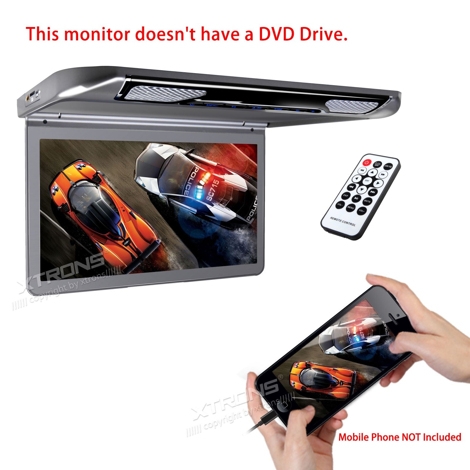 XTRONS 13.3'' HD 1080P Video Car MPV Roof Flip Down Slim Monitor Overhead Player Wide Screen Ultra-thin with HDMI Input No DVD