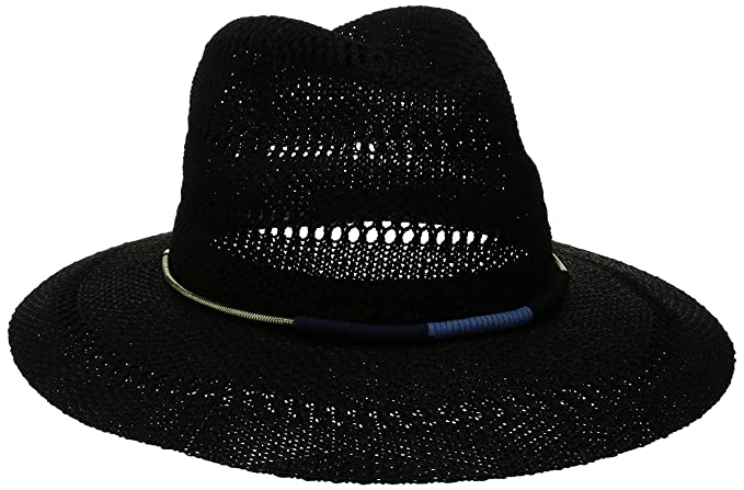 6ab5a204b4e San Diego Hat Company Women s Knitted Panama Fedora Hat with Gold Cord  Trim