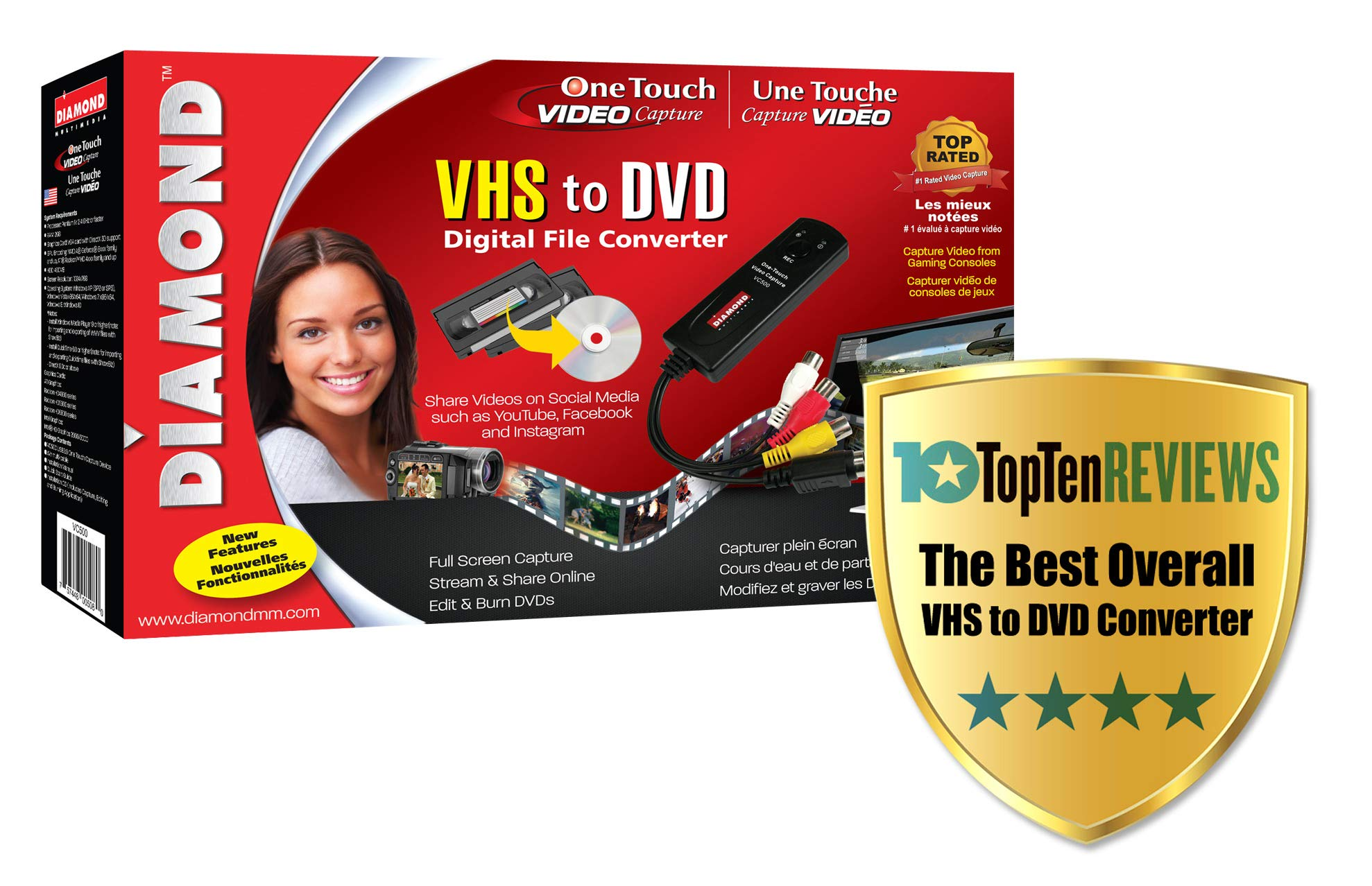 Diamond VC500 USB 2.0 One Touch VHS to DVD Video Capture Device with Easy to use Software, Convert, Edit and Save to Digital Files For Win7, Win8 and Win10 by Diamond Multimedia