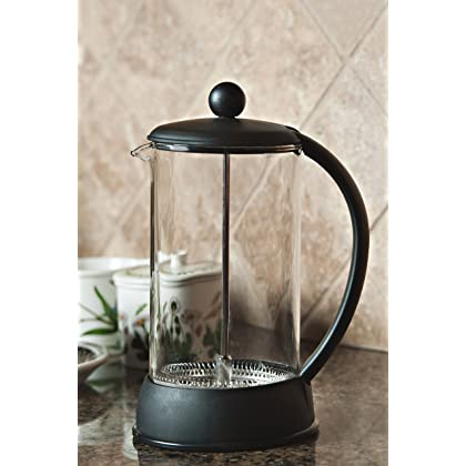 FP Coffee Maker French Press Coffee Maker w/ Glass Carafe and Sturdy Plastic Frame: 34 oz (8 cup) capacity; black