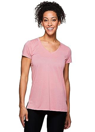 6d36c8c33632 RBX S/S MESH Yoke Vneck TEE at Amazon Women's Clothing store: