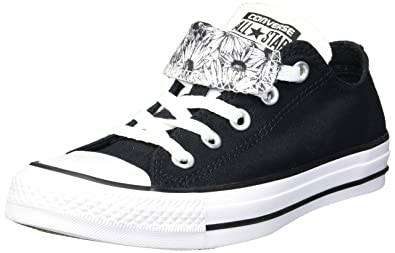 a5427b5117bc Converse Women s Double Tongue Floral Low Top Sneaker White Black