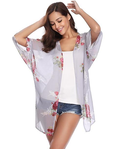 9ead7e08a Abollria Ropa de Baño Cover Up para Mujer IR al Mar Pareo Playa Cárdigan  Casual para Vacaciones de Verano y Fiesta Kimono
