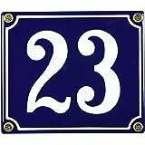 Buddel Bini Wetterfestes Emaille Hausnummernschild 23 12 x 14 cm, sofort lieferbar, blau