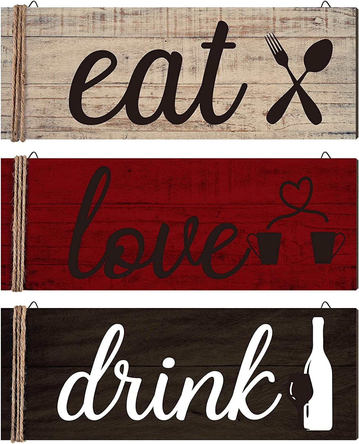 Jetec 3 Pieces Wood Home Sign Rustic Wooden Kitchen Wall Decor Eat Drink Love Wood Sign with Hanging Hole for Home Kitchen Dining Living Room Bar Cafe Decoration (Retro Color)