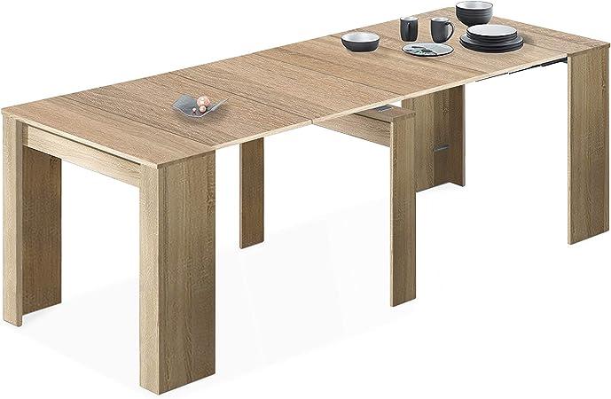Habitdesign 004580F - Mesa de Comedor Consola, Mesa Extensible, Mesa para Salon recibidor o Cocina, Acabado en Roble Canadian, Medidas: 50/235 cm (Largo) x 90 cm (Ancho) x 78 cm (Alto): Amazon.es: Hogar