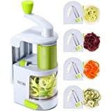 Spiralizer Vegetable Slicer (NEW 4-in-1 Rotating Blades) Heavy Duty Veggie Spiralizer with Strong Suction Cup, Zucchini Spiral Noodle/Zoodle/Spaghetti/Pasta Maker (Free Recipe Book and Cleaning Brush)