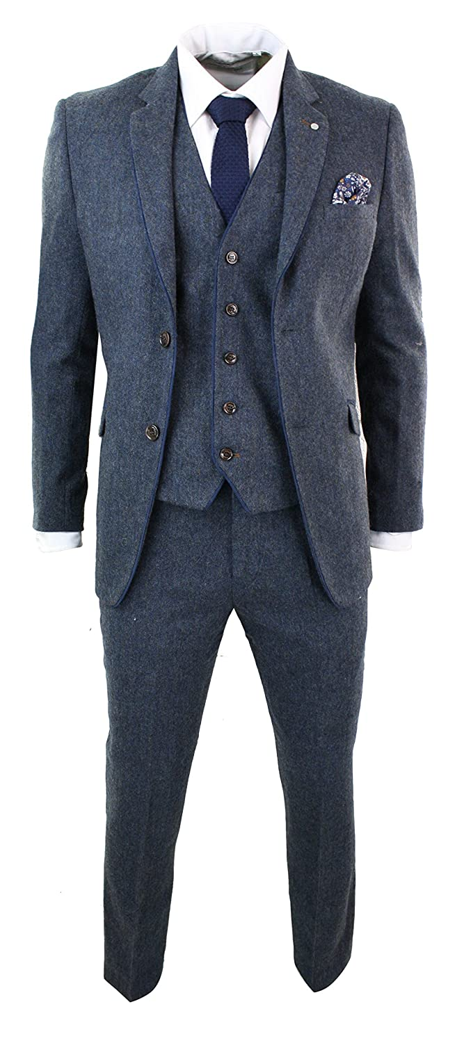Men's Vintage Style Suits, Classic Suits Mens Herringbone Tweed 3 Piece Suit Vintage Tailored Fit Brown Suede Patch Blue £104.99 AT vintagedancer.com