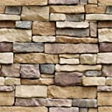 Yancorp 18'x120' Stone Brick Wallpaper Stick On Self-Adhesive Peel and Stick Backsplash Wall Panel Removable Home…