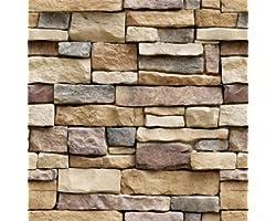 "Yancorp 18""x120"" Stone Brick Wallpaper Stick On Self-Adhesive Peel and Stick Backsplash Wall Panel Removable Home Decoration"