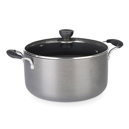 682a81e8 Zinel Non-Stick Stockpot/Casserole with Hard Anodised Induction Base, Grey, 24  cm: Amazon.co.uk: Kitchen & Home