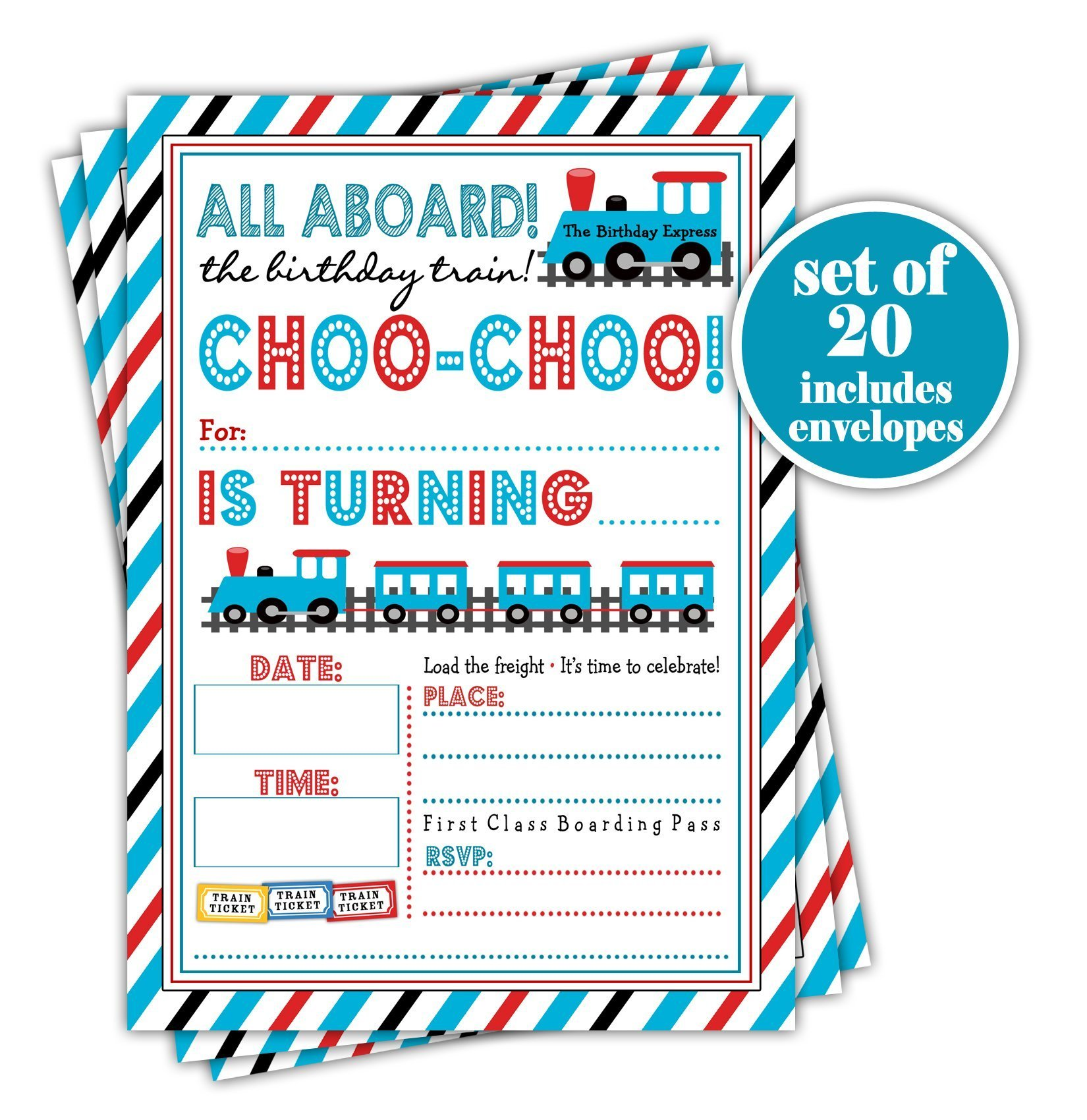 Train Themed Birthday Party Invitation - Set of 20 with envelopes