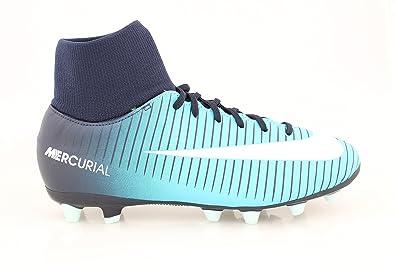 f41c20d872774 Botas Fútbol Nike MercurialX Victory VI Azul Con Calcetin Suela AG Niño   Amazon.es  Zapatos y complementos