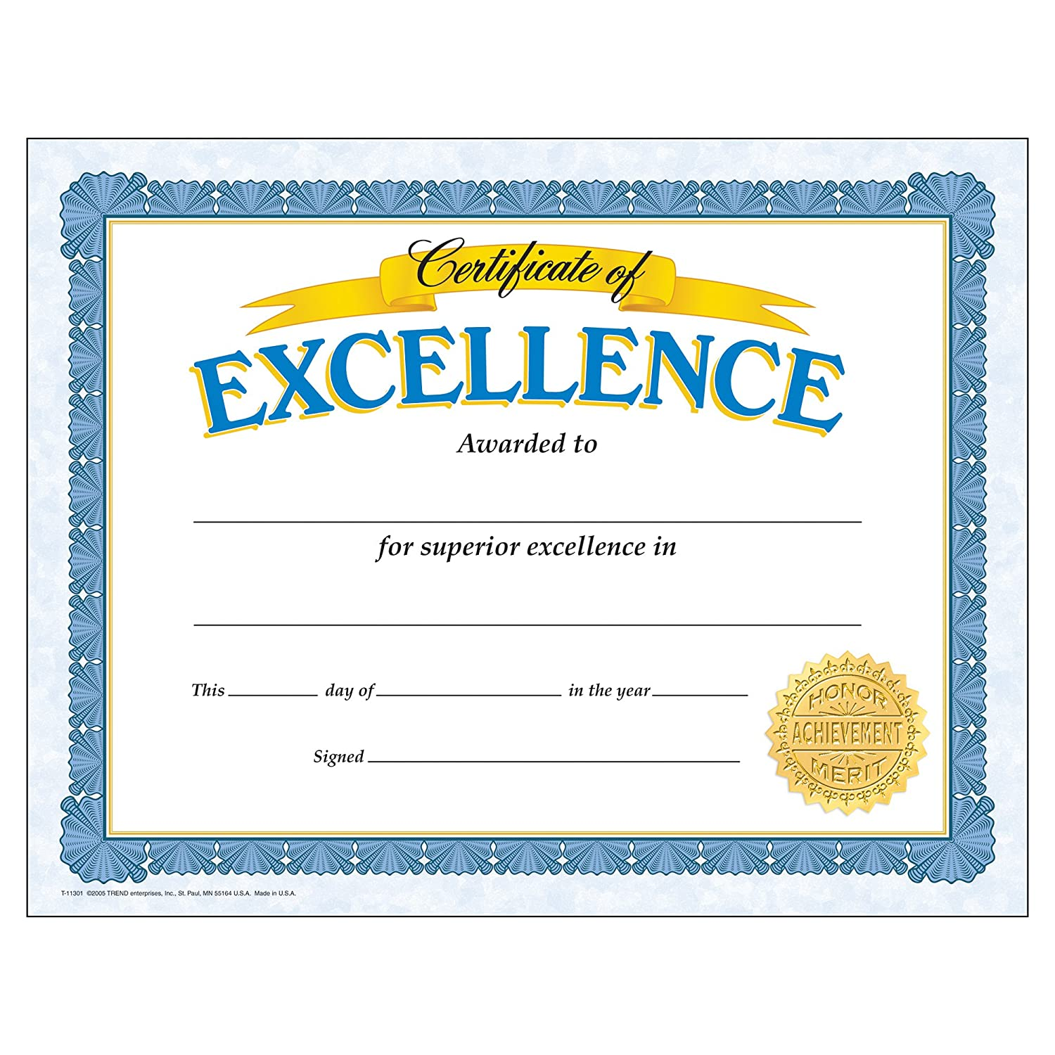 Awards certificates amazon office school supplies trend enterprises certificate of excellence 30pkg t 11301 alramifo Images