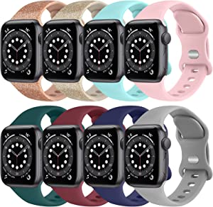 [8 PACK] Silicone Bands Compatible with Apple Watch Series 6 5 4 3 2 1 & iWatch SE for Women Men, Soft Strap Replacement for Apple Watch Bands 40mm 38mm