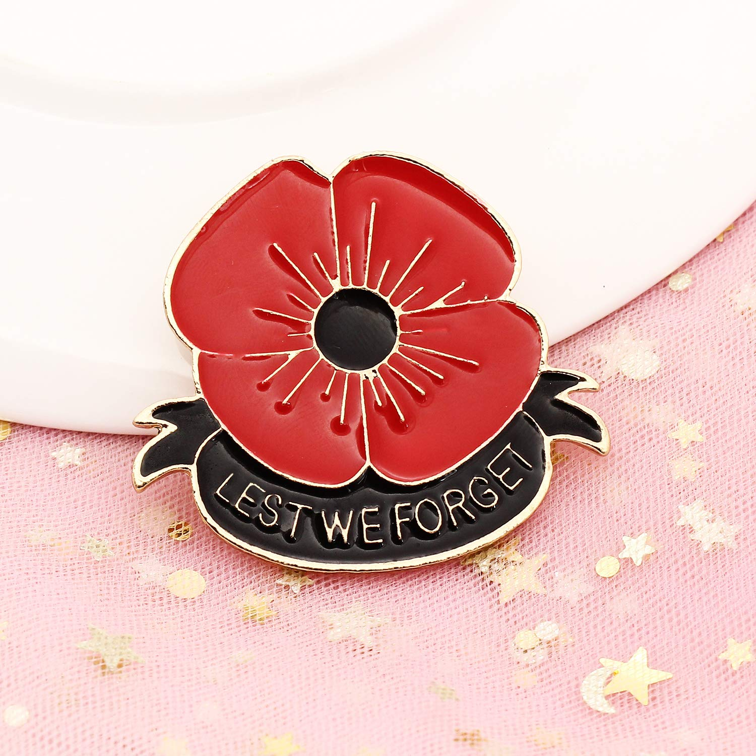 Awyuan Lest We Forget Red Poppy Flower Brooch Pin Broach Clip