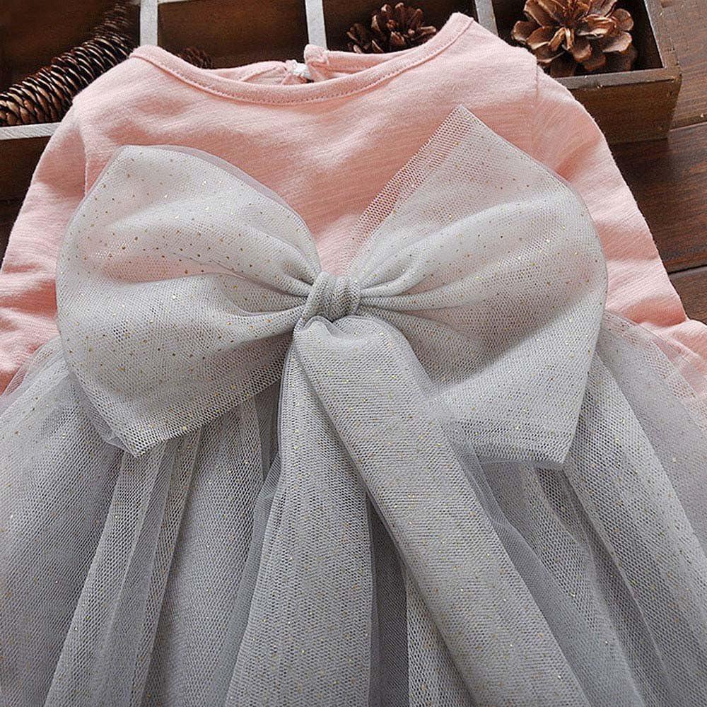 Kids Toddler Baby Girls Bowknot Long Sleeve Princess Elegant Tutu Dress Clothes SamMoSon Kids Beautiful Dress