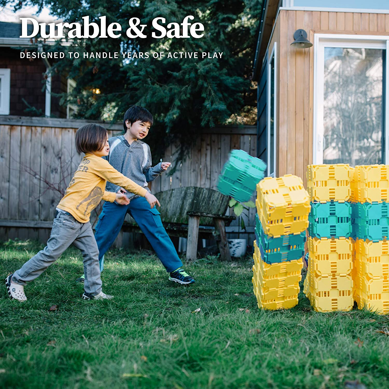 90 Piece Set: Yellow Jumbo Blocks Fort Boards: Fort Building Kit Kids Building Toys