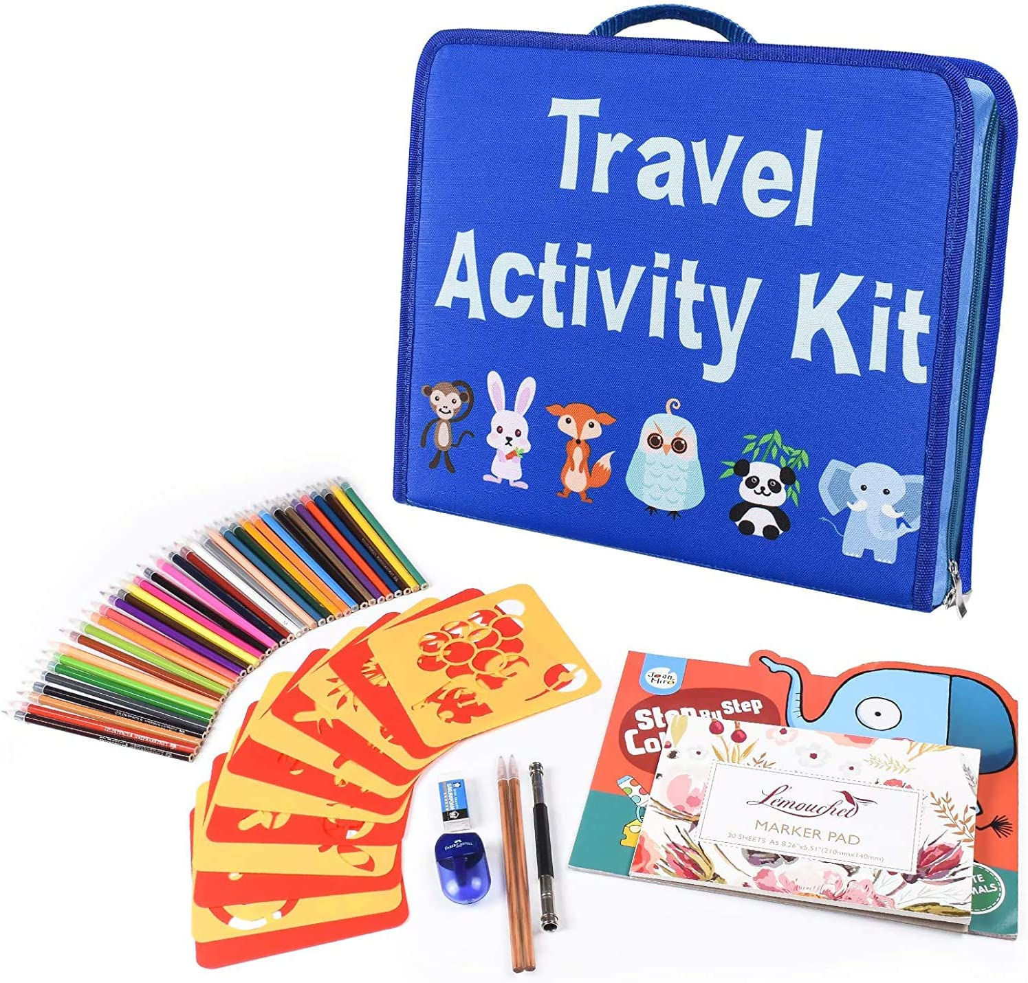 L'émouchet Travel Activity Kit, Laptop Style Desk with Writing and Drawing Accessories, Large 92 Kids Stencil Sets,Ideal Educational Toy and Creativity Kit,The Perfect Kids Gift for Any Occasion