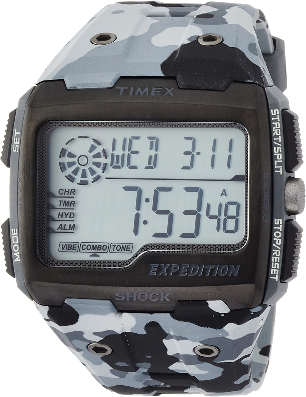 Timex Grid Shock LCD/Black - Reloj con Correa de Resina para Hombre, Color Negro