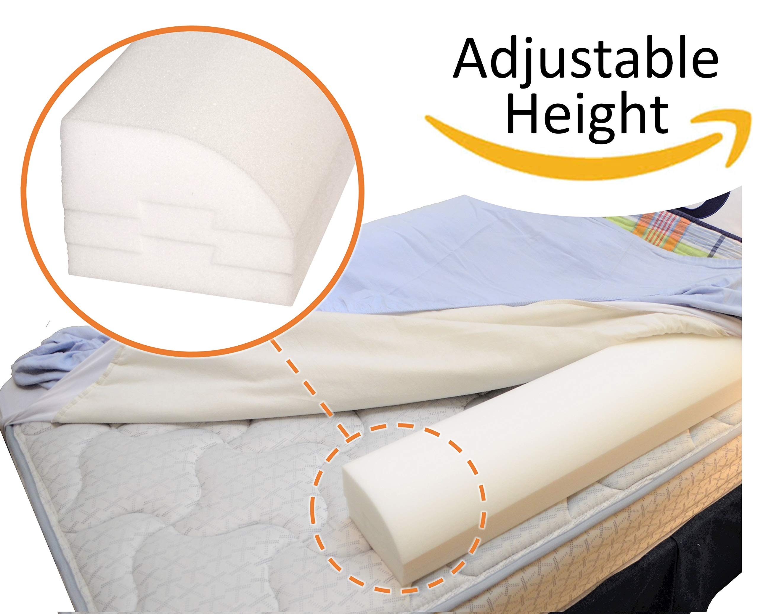 Adjustable Height Bed Rail for Toddlers and Kids; Non-slip, Premium Foam; Washable; Made in the USA