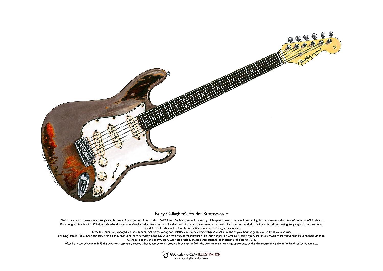 Art Cartel de Fender Stratocaster guitarra de Rory Gallagher, tamaño A3 George Morgan Illustration