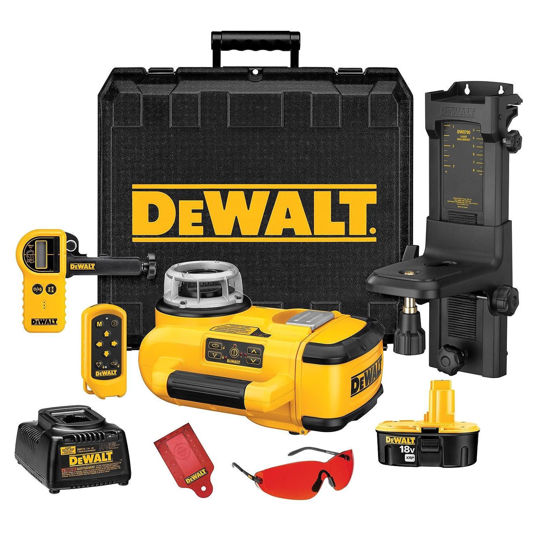 DEWALT DW079KD 18 Volt Self Leveling Interior Exterior Rotary Laser Kit with Laser Detector