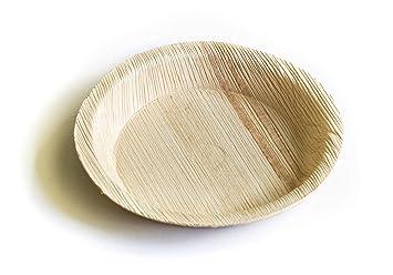 Juego de 25 platos hondos, platos ecológicos desechables hechos de hoja de palma - redondos