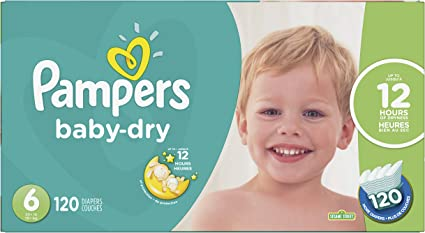 Pampers Baby Dry Disposable Diapers Size 6 120 Count Economy Pack Plus