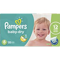 Diapers Size 6 - Pampers Baby Dry Disposable Baby Diapers, 120 Count, Economy Pack Plus