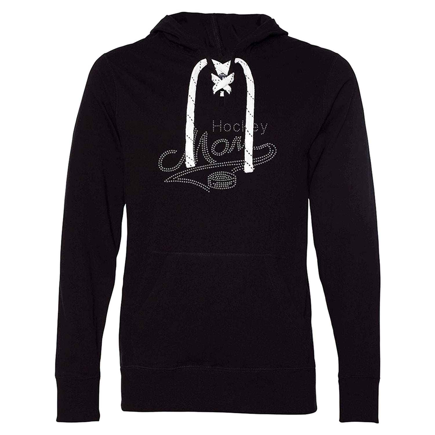 Hockey Mom Hoodie T-Shirt with Skate Lace String and Rhinestones