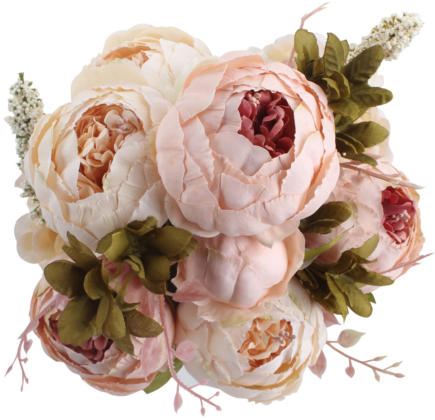 Amazon.com: Duovlo Fake Flowers Vintage Artificial Peony Silk ...