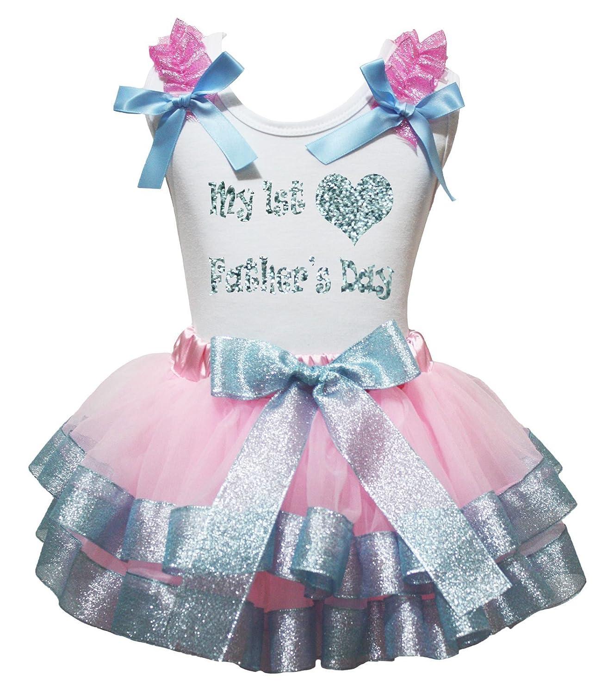 Bling My 1st Father's Day Dress Shirt Pink Light Blue Petal Skirt Set Nb-8y