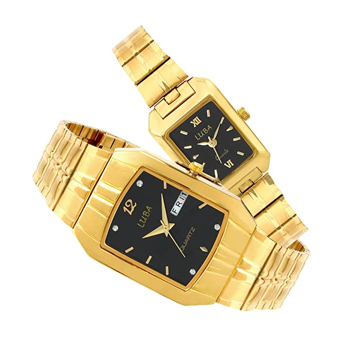Black Dial Day N Date Watch for Couple