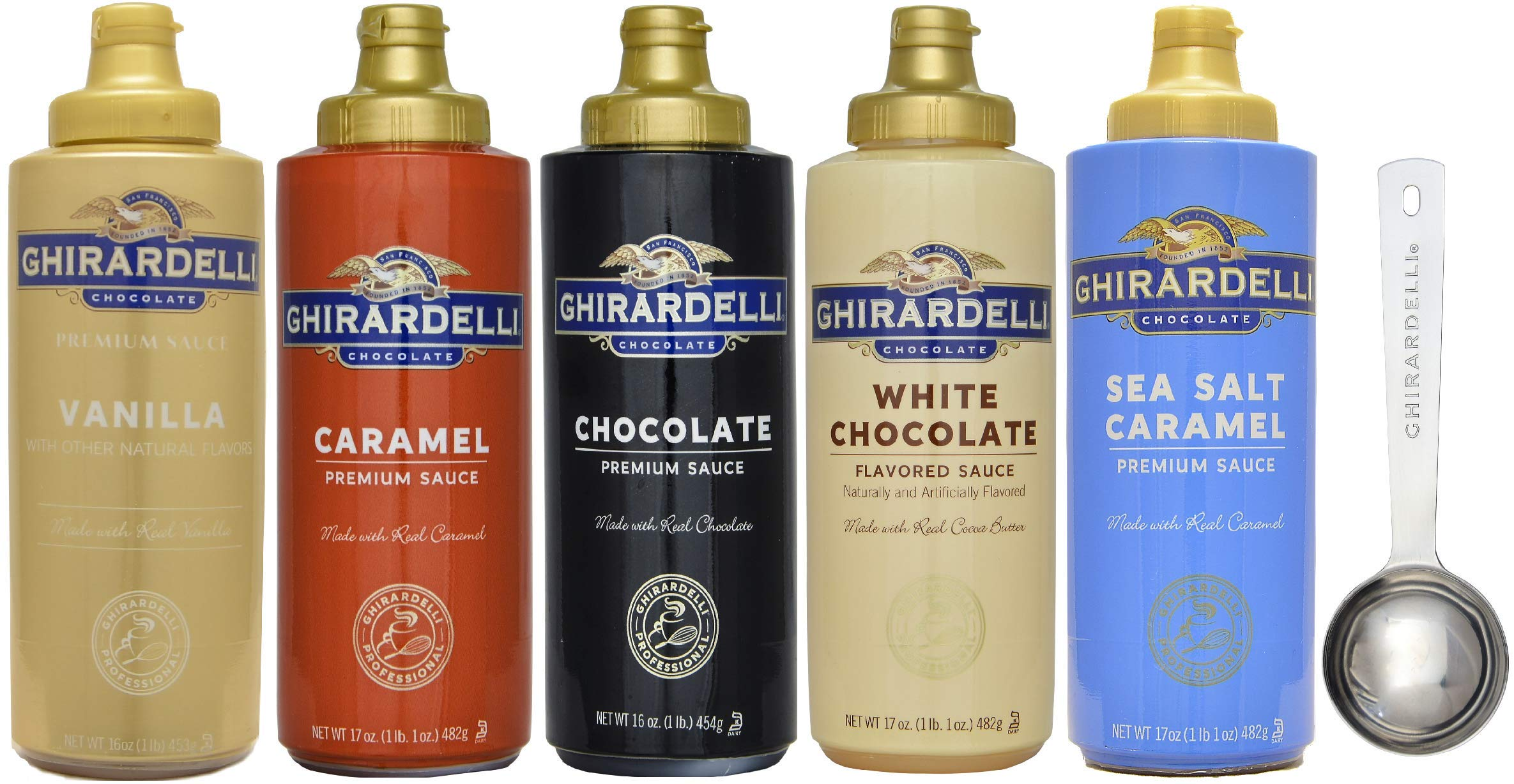 Ghirardelli - 16 Ounce Black Label, 16 Ounce Vanilla, 17 Ounce White, 17 Ounce Caramel, 17 Ounce Sea Salt Caramel Flavored Sauce (Set of 5) - with Limited Edition Measuring Spoon