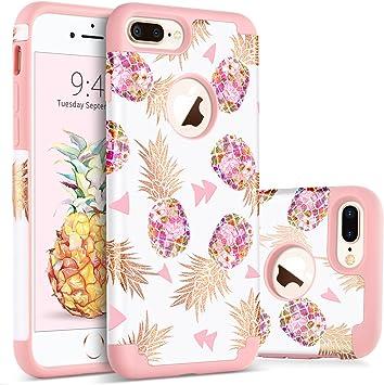 BENTOBEN Funda iPhone 8 Plus Piña, Funda iPhone 7 Plus, Ultra Delgado Carcasa Case Cover Piña Mono Brillante Combinada Anti-Scratch Protectora Funda para iPhone 7 Plus / 8 Plus 5.5