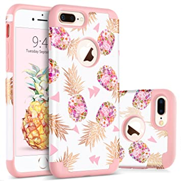 BENTOBEN Funda iPhone 8 Plus Piña, Funda iPhone 7 Plus, Ultra Delgado Carcasa Case Cover Piña Mono Brillante Combinada Anti-Scratch Protectora Funda ...