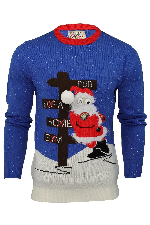 Herren Pullover 3D Weihnachtsmotiv Drunk Santa: