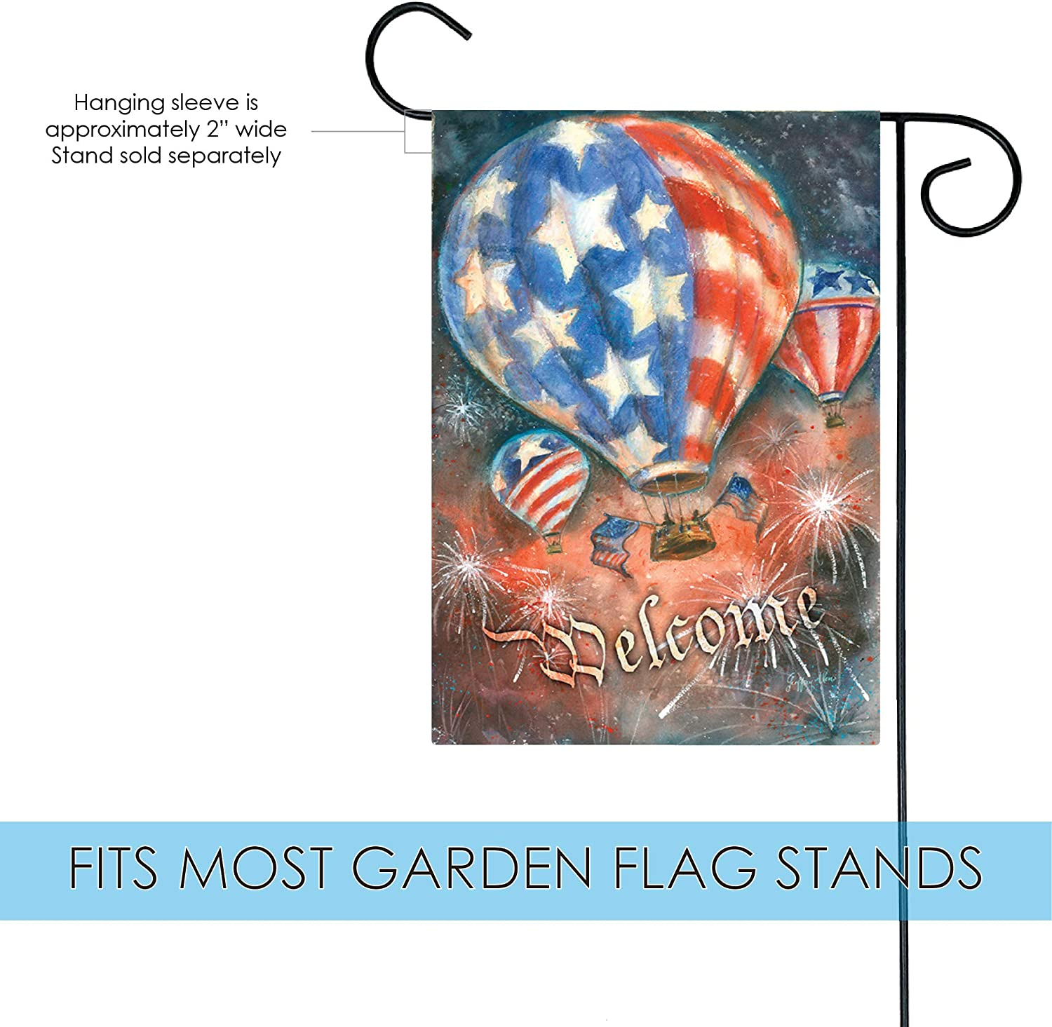 Amazon Com Toland Home Garden Red White And Balloon 12 5 X 18 Inch Decorative Patriotic July 4 Firework Welcome Garden Flag Outdoor Decorative Flags Garden Outdoor