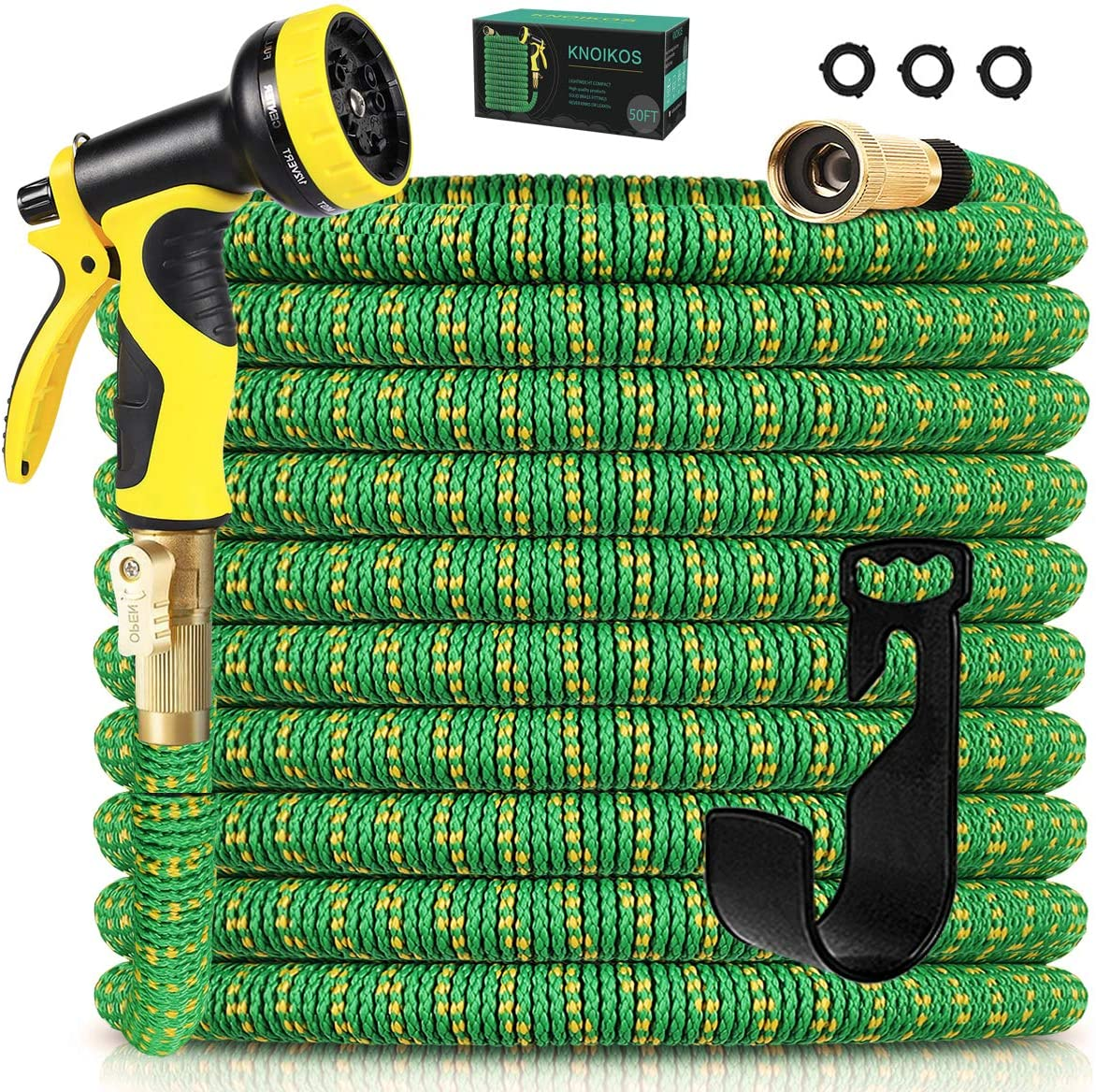 Knoikos Expandable Garden Hose 50ft - Expanding Water Hose with 10 Function High Pressure Nozzle, Lightweight Water Garden Hose Solid Brass Connectors & Durable 3-Layers Latex