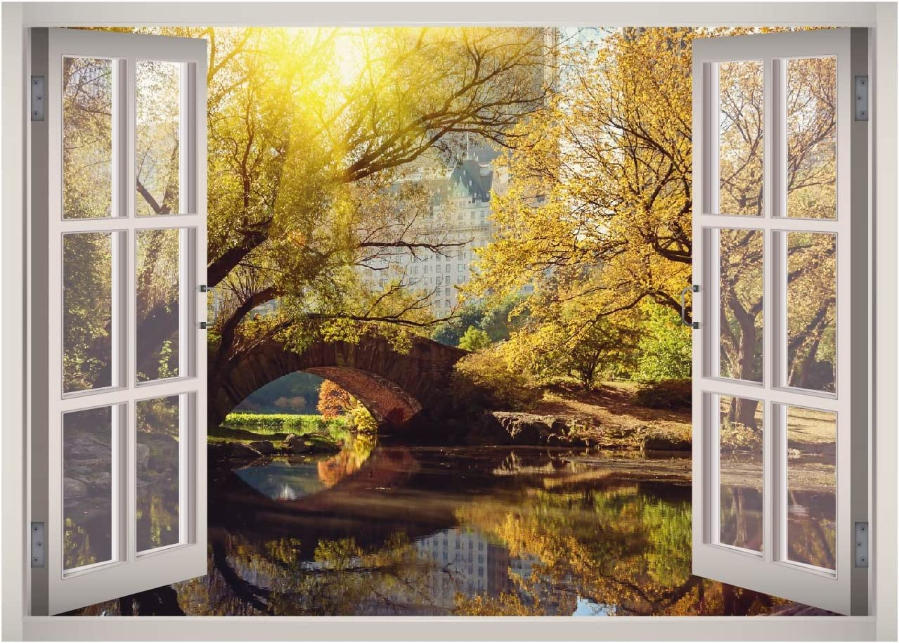 Central Park Window 3D Wall Decal Art Removable Wallpaper Mural Sticker Vinyl Home Decor West Mountain W45 (MEDIUM (32''W x 23''H))