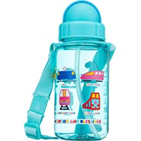 Simply Life SLMA-1901-350ST - Train - BPA-free Tritan Bottle with Straw and Safety Release Strap (350ml) Blue