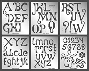 Aleks Melnyk #76 Metal Journal Stencils/Alphabet Letter Number, ABC - 2 inch/Stainless Steel Stencils Kit 6 PCS/Templates Tool for Wood Burning, Pyrography and Engraving/Crafting/DIY/for