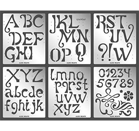 Pyrography and Engraving//Scrapbooking//Crafting//DIY//for ABC 2 inch//Stainless Steel Stencils Kit 6 PCS//Templates Tool for Wood Burning Aleks Melnyk #76 Metal Journal Stencils//Alphabet Letter Number