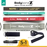 BodybandX Pull Up Assist Bands, Heavy Resistance Band for Men/Women, Exercise/Workout Bands 5 in1 Set, eBook, Door Anchor, Ankle Strap & Bag (Single Unit)
