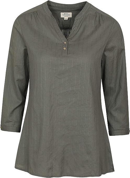 Mountain Warehouse Camisa Petra con Manga 3/4 de Estilo Informal para Mujer - Blusa 100% de algodón para Verano, Ligera y Transpirable - para Primavera, Viajes y Paseos Caqui Claro 34: Amazon.es: Ropa y accesorios