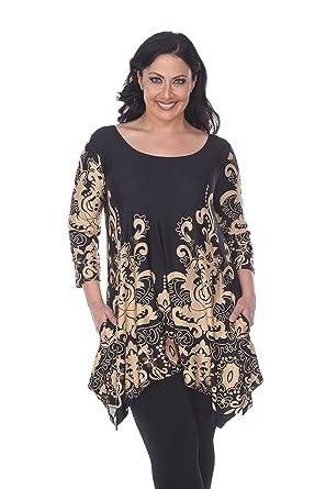 cab9a18694 White Mark Women s Plus Size Yanette Paisley Floral Tunic Top 1XL Beige