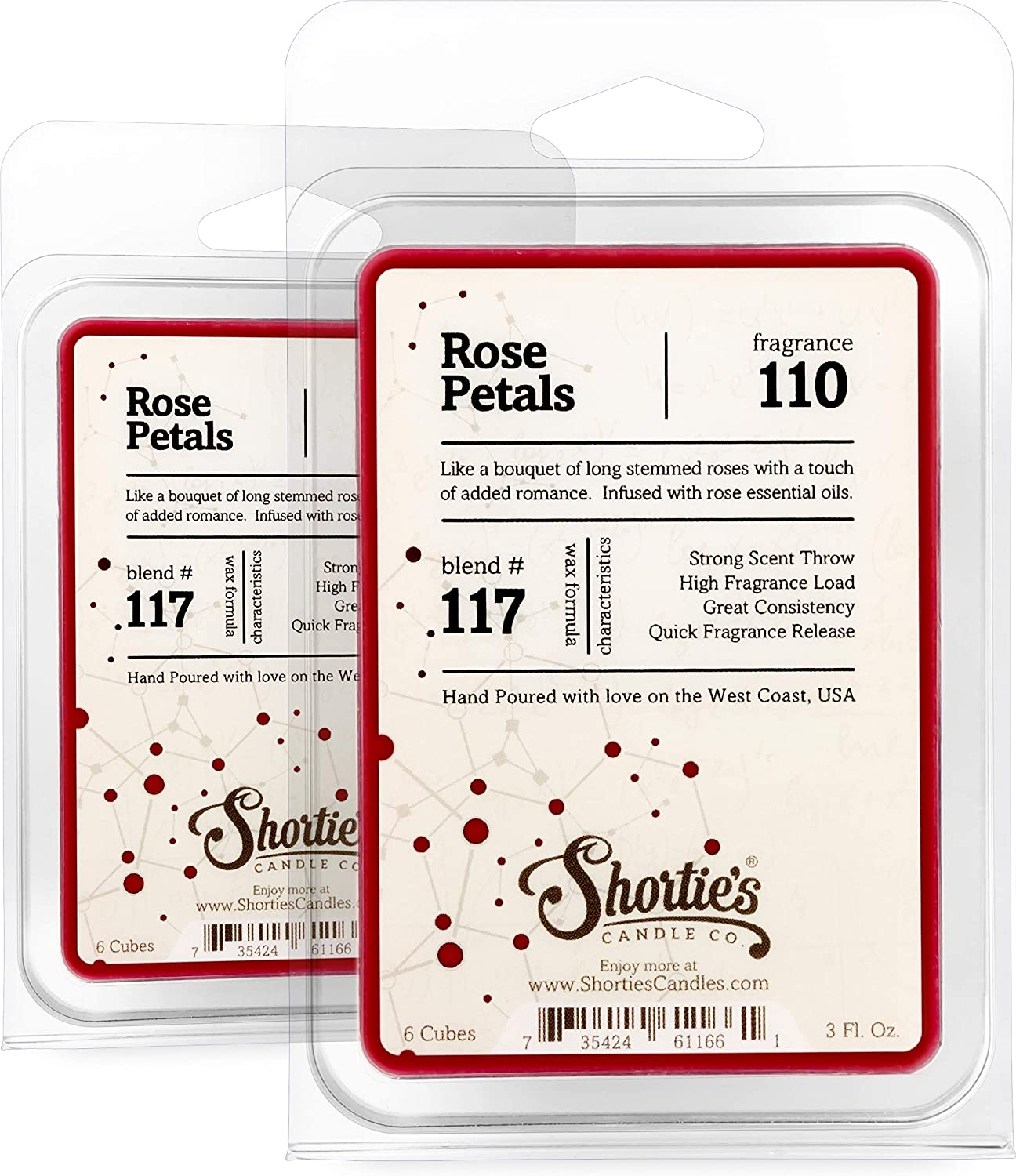 Shortie's Candle Company Rose Petals Wax Melts Multi Pack - Formula 117-2 Highly Scented Bars - Made with Natural Oils - Flower & Floral Air Freshener Cubes Collection